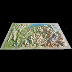 Carte en relief de La Haute Savoie (version été)