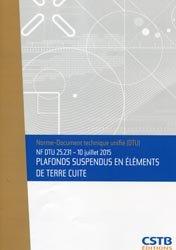 NF DTU 25.231 - Plafonds suspendus en éléments de terre cuite