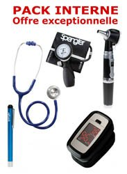 PACK INTERNE - Tensiomètre manopoire SPENGLER Lian Nano - Stéthoscope Magister - Otoscope Spengler SMARTLED à LED et fibre optique - OXYSTART - Oxymètre de pouls - Lampe stylo à LED Litestick Spengler  - BLEU MARINE