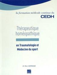 Thérapeutique homéopathique en traumatologie et médecine du sport