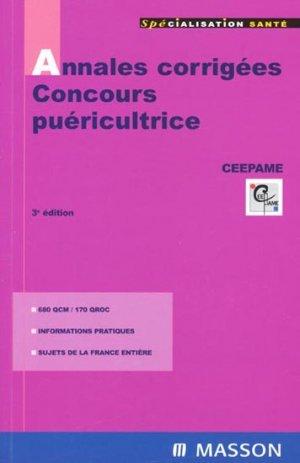 Annales corrigées - Concours puéricultrice - elsevier / masson - 9782294087851