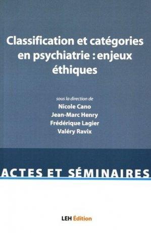 Classification et catégories en psychiatrie : enjeux éthiques - les etudes hospitalieres - 9782848746661
