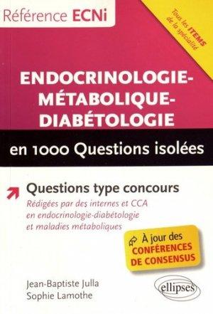 Endocrinologie-métabolique-diabétologie en 1000 questions isolées - ellipses - 9782340018327