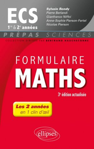 Formulaire maths ECS 1e et 2e années-ellipses-9782340016491