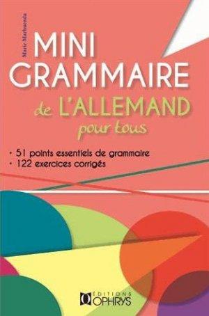 MINI GRAMMAIRE DE L'ALLEMAND POUR TOUS -OPHRYS-9782708014824