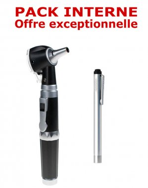 PACK INTERNE - Otoscope Spengler SMARTLED à LED et fibre optique Noir + Lampe stylo à LED Litestick Spengler INOX-spengler-2224428470032