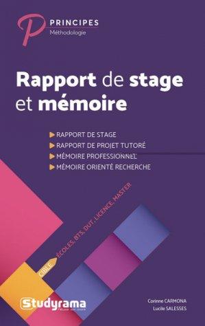 Rapport de stage et mémoire-studyrama-9782759039999