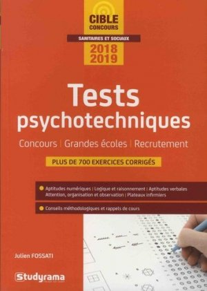 Tests psychotechniques 2018-2019 - studyrama - 9782759037179