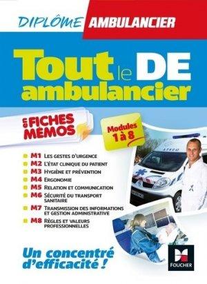 Tout le DE - Ambulancier - modules 1 à 8 en fiches mémos - DEA - Révision-foucher-9782216149308