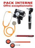 PACK INTERNE - Tensiom�tre manopoire SPENGLER Lian Nano - St�thoscope Magister - Marteau r�flex Spengler - Otoscope Spengler SMARTLED � LED et fibre optique - Lampe stylo � LED Litestick Spengler - ORANGE